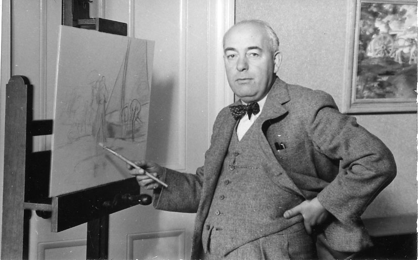 Photo of Blampied at his easle in 1939